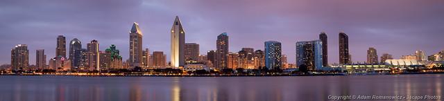 San Diego Skyline at Dusk Panoramic