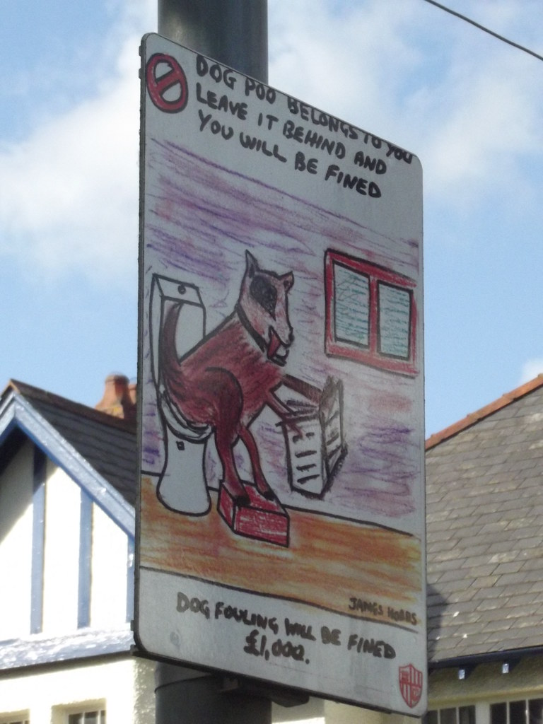 Cardiff Road, Taffs Well - dog fouling sign