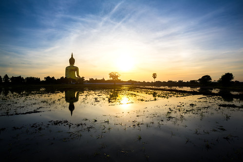 travel sky sculpture tree tourism nature face field statue architecture sunrise landscape asian thailand temple gold golden back big asia rice outdoor buddha background buddhist traditional religion culture buddhism icon thai meditation wat filed largest