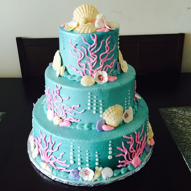 Under The Sea Baby Shower Cake. Buttercream With Piped On Details And  Fondant Shells And