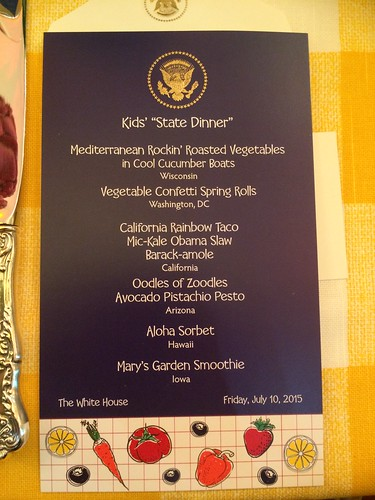 "Menu from the Kids' ""State Dinner"""