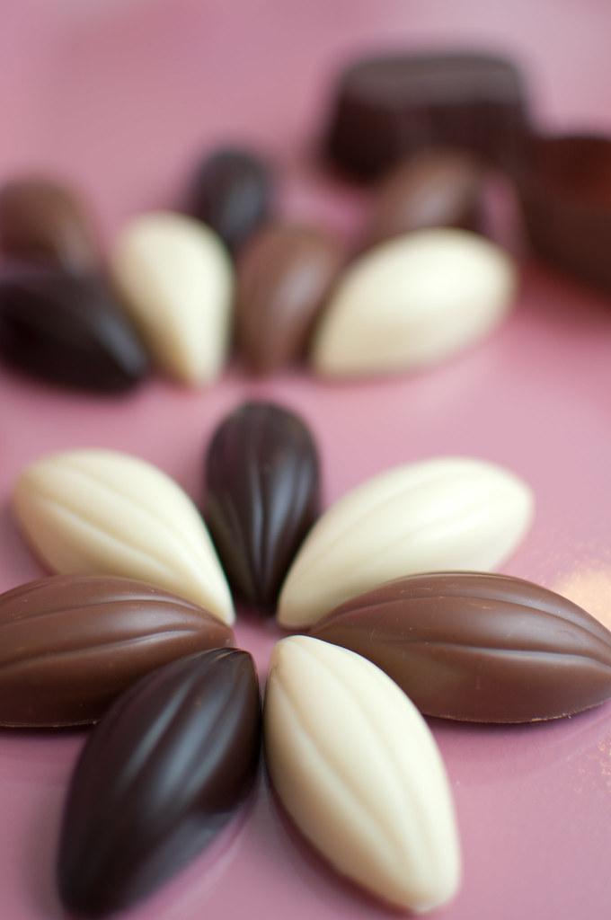 Kakaóbab forma gianduja töltelékkel, karamellizált mogyoródarabokkal