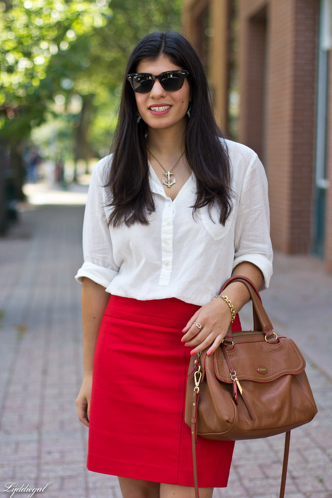 white popover, red pencil skirt, brown bag and sandals-4.jpg