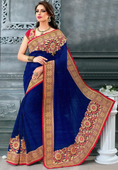 Royal Blue Faux Georgette Saree