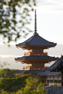 Image of Kiyomizu-dera Temple. asia japan temple pagoda buddhism kyoto honshu sunset mountains orange unesco kiyomizu dera