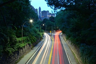 Light Trails on the 66th Street Transverse in Central Park