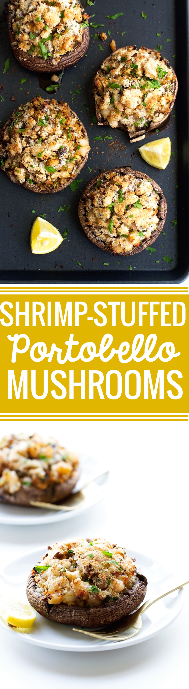 Shrimp Stuffed Portobello Mushrooms - Easy to make, waistline friendly, and just 30 minutes from start to finish! #stuffedmushrooms #shrimp #portobellowmushrooms | Littlespicejar.com