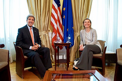 U.S. Secretary of State John Kerry sits with European Union High Representative for Foreign Affairs Federica Mogherini on July 2, 2015, in Vienna, Austria, before a one-on-one meeting amid the P5+1 negotiations with Iranian officials about the future of their nuclear program. [State Department Photo / Public Domain]