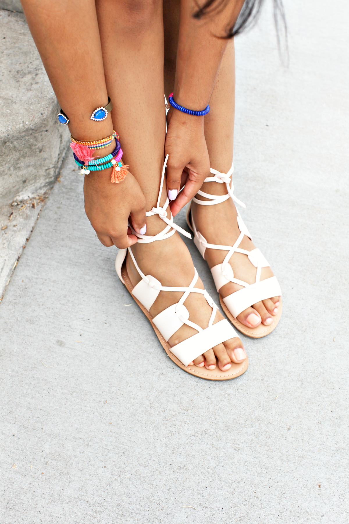 Blush Lace Up Sandals