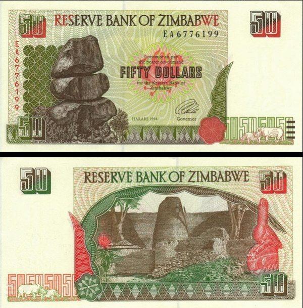 50 Dolárov Zimbabwe 1994, Pick 8a