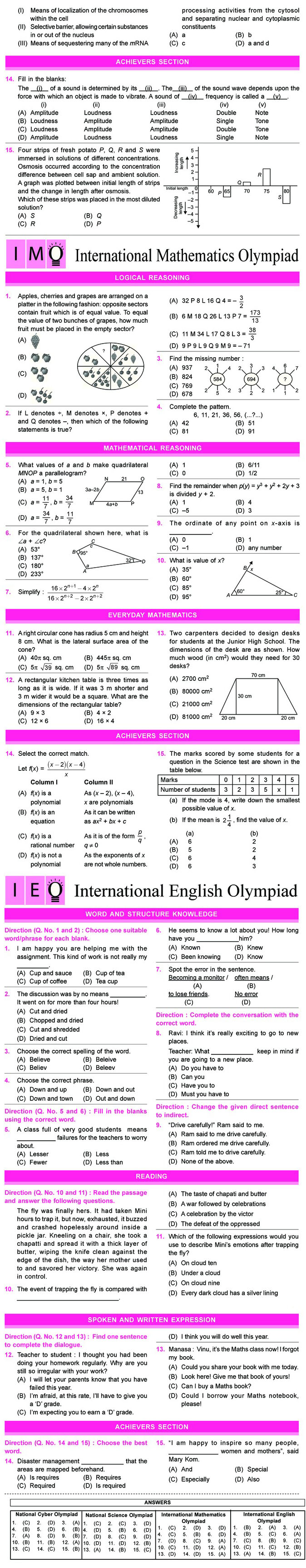 NCO, NSO, IMO & IEO Class 9 Sample Papers