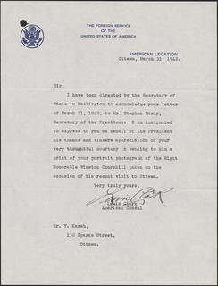 Churchill portrait [correspondence - The Foreign Service of the United States of America] / Churchill portrait [correspondance - The Foreign Service of the United States of America]