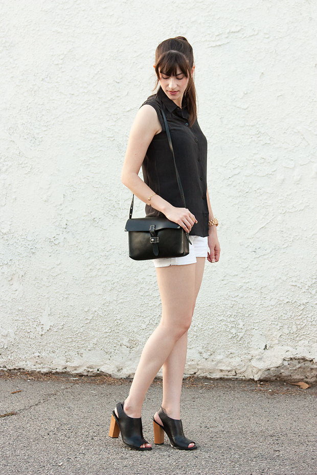 Everlane Silk Top, White Shorts, Madewell Bag, Black and White Outfit