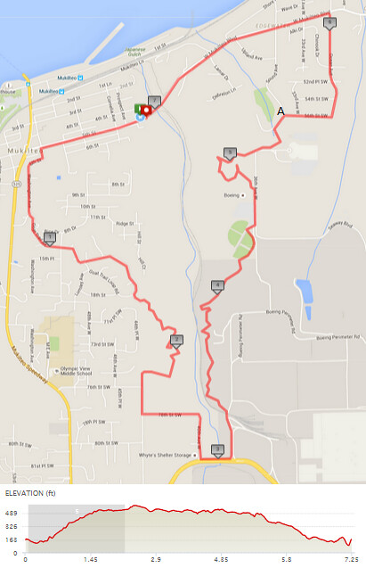 Today's awesome walk, 7.25 miles in 2:38, 15,598 steps, 530ft gain