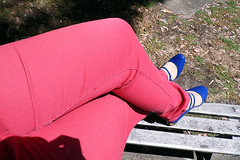 Patent Blue Strap Shoes with Red Jeans
