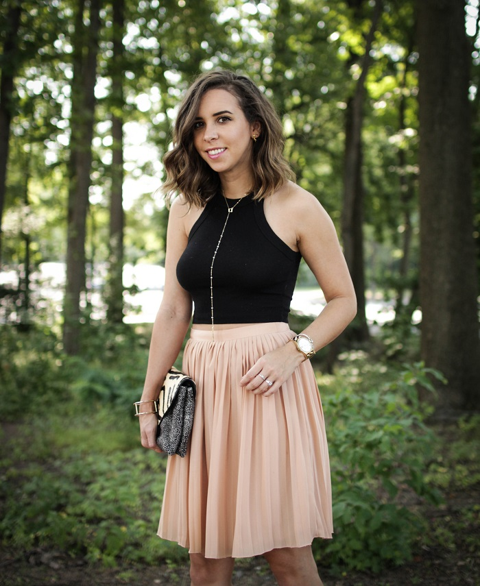aviza style. andrea viza. fashion blogger. dc blogger. pleated skirt. crop top. dolce vita heels. loeffler randall clutch. tasteful crop top. summer style. 6