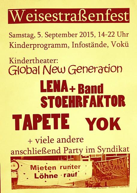 5.9.2015 um 20:30 Uhr | TAPETE LIVE | BERLIN-Neukölln | Weisestraßenfest