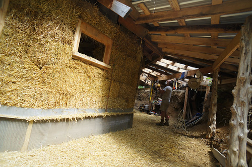 trimming straw bales