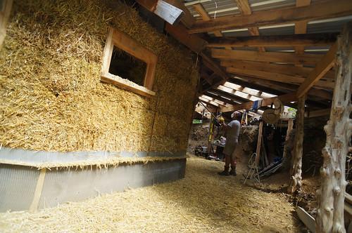 trimming straw bales