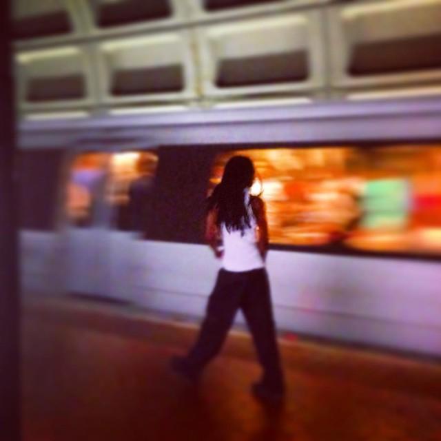 Better late than never. #train #dcmetro #dc #metro #girl #walking #station #tracks