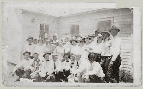 Group at the front of the house