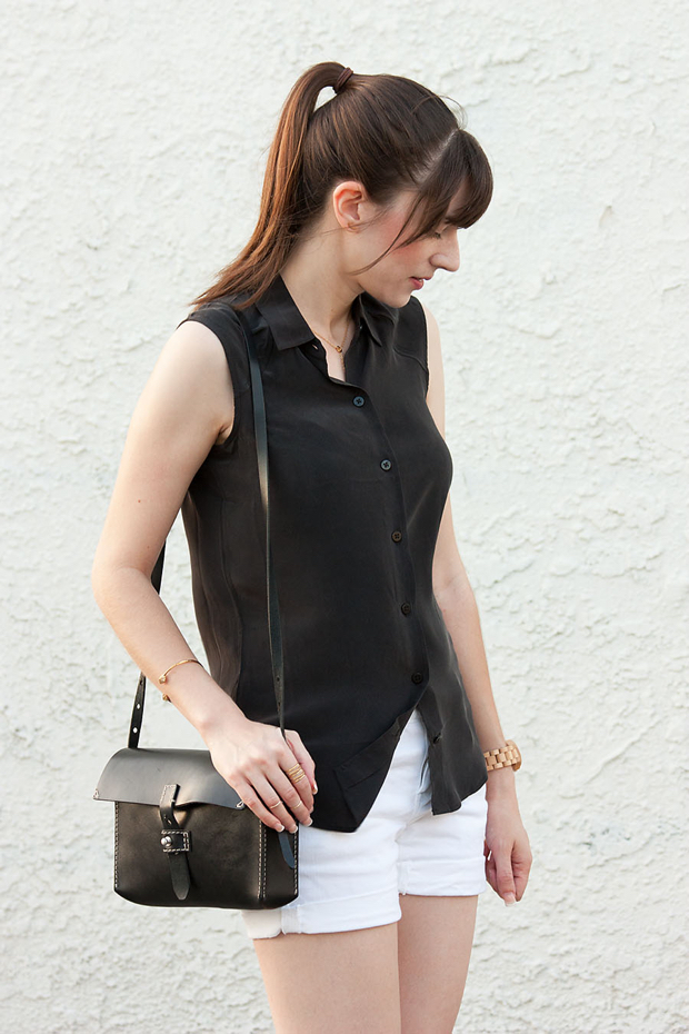 Everlane Silk Top, White Shorts, Stella and Dot Jewelry, Black and White Outfit