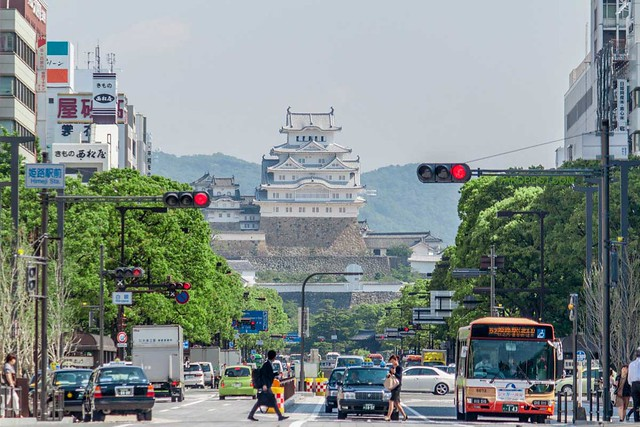 Himeji Castle - view from the street.