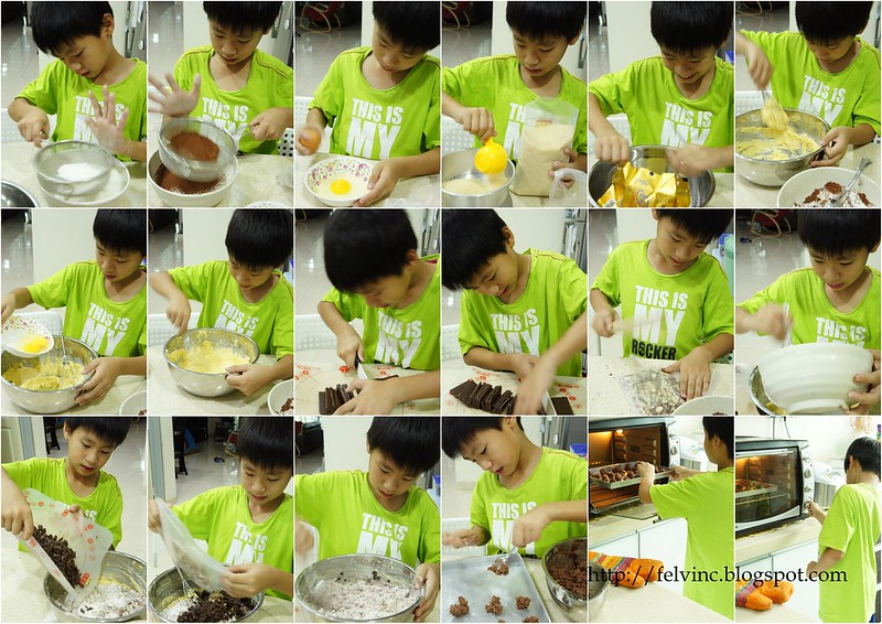 making of chocolate cookies