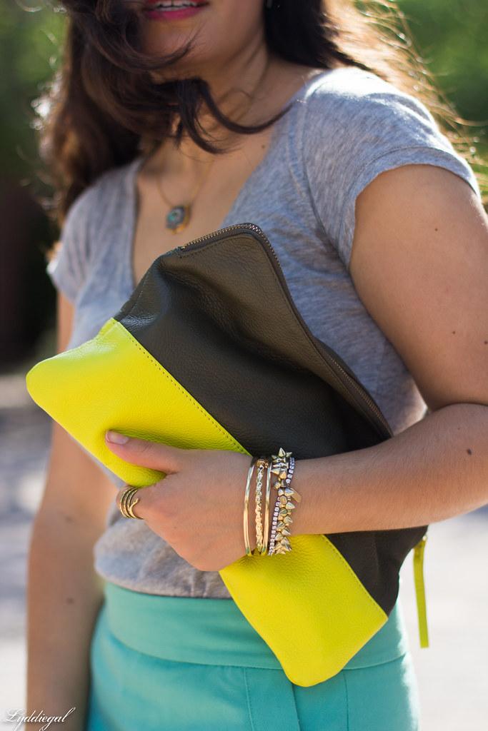 mint green pencil skirt, grey tee, neon clutch-4.jpg
