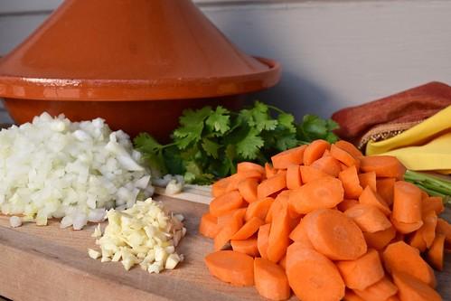 carrots, onion, and garlic
