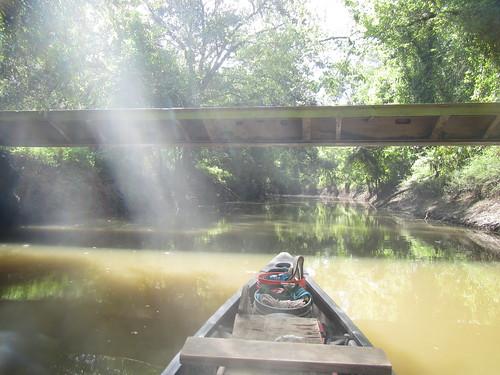 Low water, high bridge.