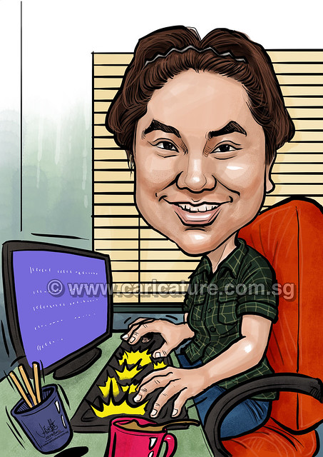 digital caricature work at computer for PropertyGuru (watermarked)