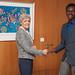 Former French astronaut Claudie Haigneré welcoming Ayawen Asuinura (Ghana), DStv Eutelsat Star Awards winner 2015 at Eutelsat Headquarters, Paris