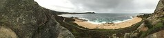 Panorama/up above the Carmel Middle Beach/Point Lobos in the distance