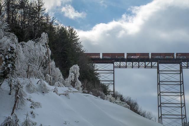 Train bridge over the falls