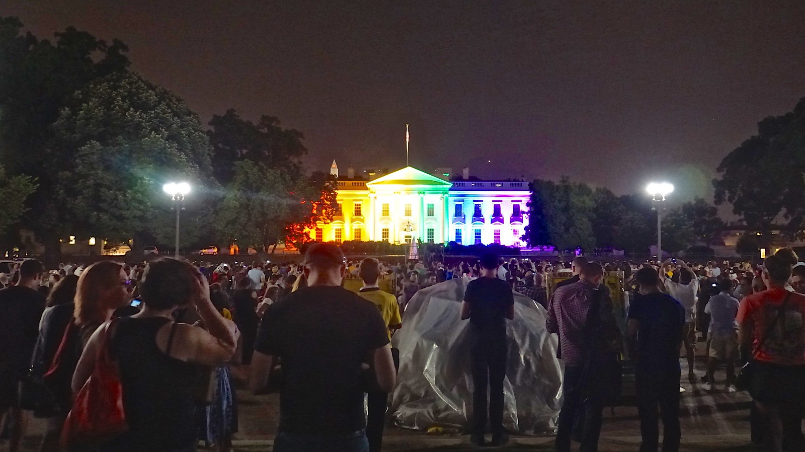 The Stunned Silence in front of the White House in Rainbow Colors