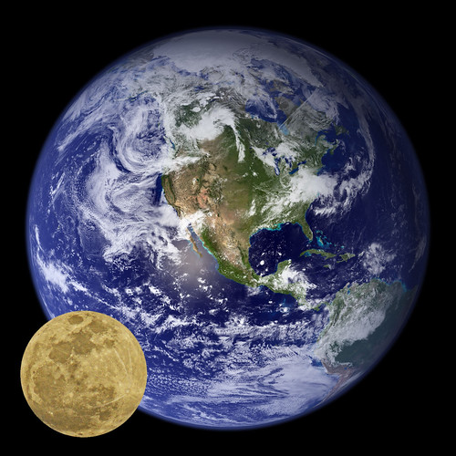 The earth and the moon in their relative sizes