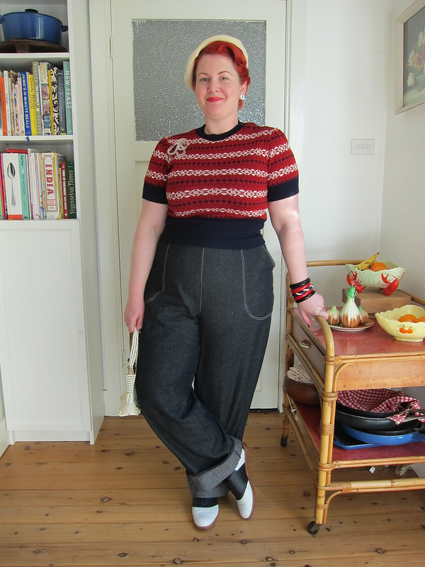 1940s fairisle jumper retrospec'd clothing jeans denim womans plus size freddies of pinewood