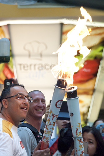 Hand off - Pan Am torch relay