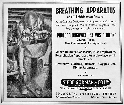 Siebe Gorman Mines Rescue breathing apparatus 1951