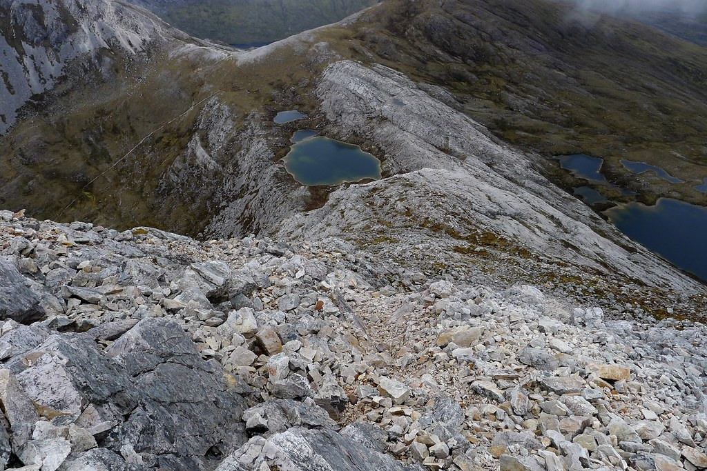 On the steep upper section of An Ruadh-Stac