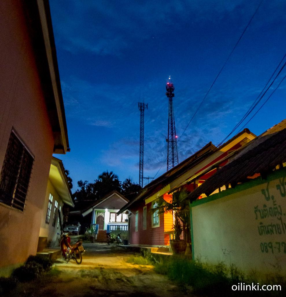 Village, Telco tower, Venus and Jupiter from Ao Por, Phuket, Thailand