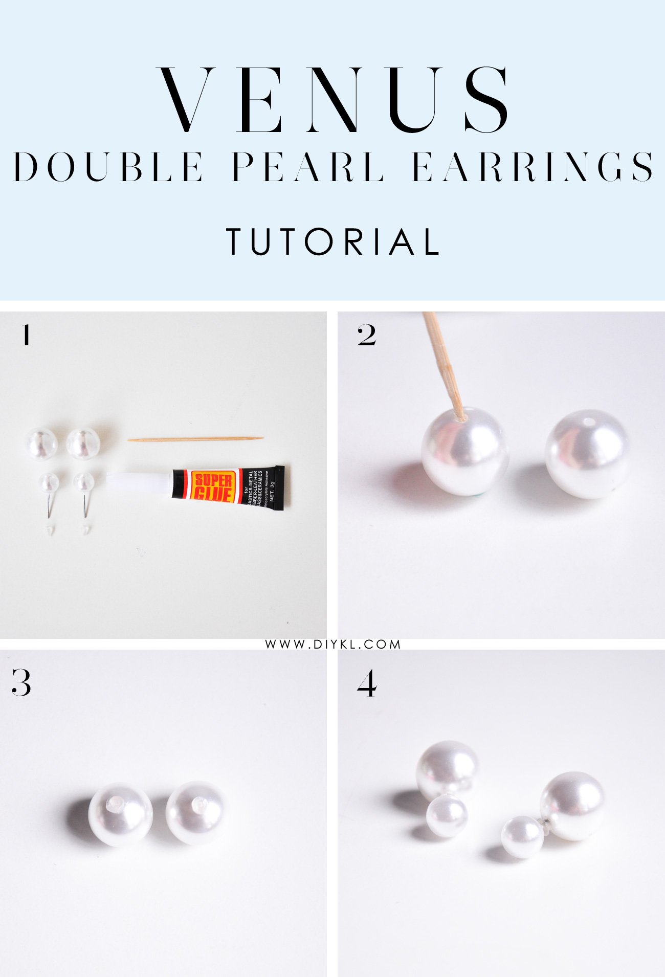 diykl VENUS Double Pearl Earrings