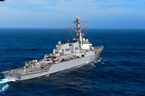 WESTERN PACIFIC OCEAN - The USS Higgins (DDG 76) entered the U.S. 7th Fleet area of responsibility (AOR), after departing their homeport of San Diego, Calif.