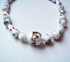 Vintage White Cane Glass Bead Necklace - Mille Fiori Style Lampwork Beads