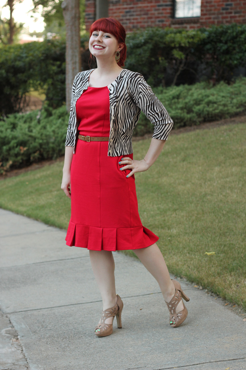 Zebra Print Cardigan, Red Sheath Dress from Modcloth.com, Brown Patent Belt, and Nude Peeptoe Heels