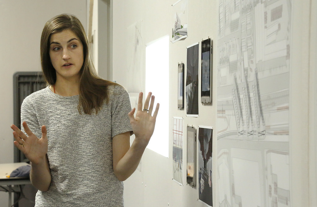 M.Arch. candidate Sophie Nichols presenting her thesis in room 157 East Sibley Hall.