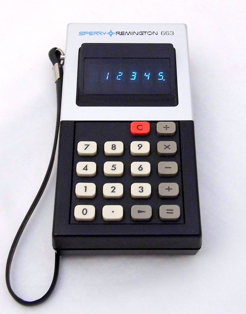 Vintage Sperry Remington Electronic Pocket Calculator, Model 663, Six VFD Tube Display, Made In Japan, Circa 1973