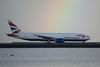 British Airways Boeing 777 -200 G-YMMN taxiing through rainbow DSC_0461