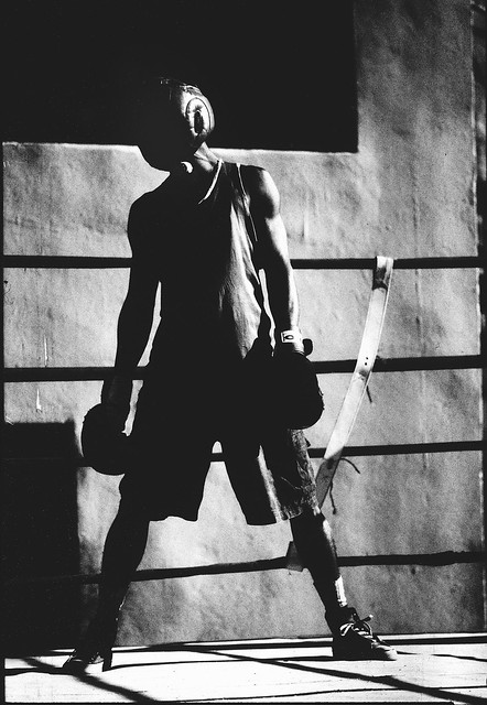 Boxer in the Shadows, Havana, Cuba, 2001